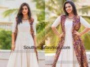 sruthi hariharan white dress with kalamkari jacket