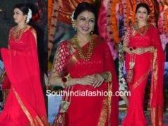 bhagya shree red saree durga pooja 2017