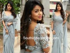 bhavya sri plain saree designer blouse