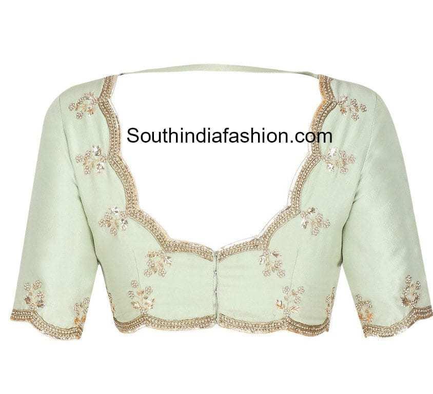 scalloped border blouse