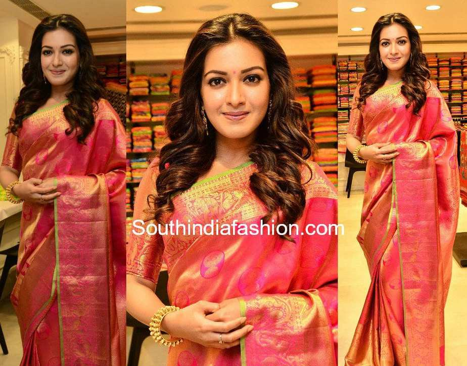 catherine tresa kanjeevaram saree at klm fashion mall launch