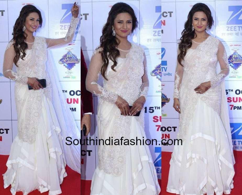 divyanka tripathi white saree gown zee rishtey awards 2017