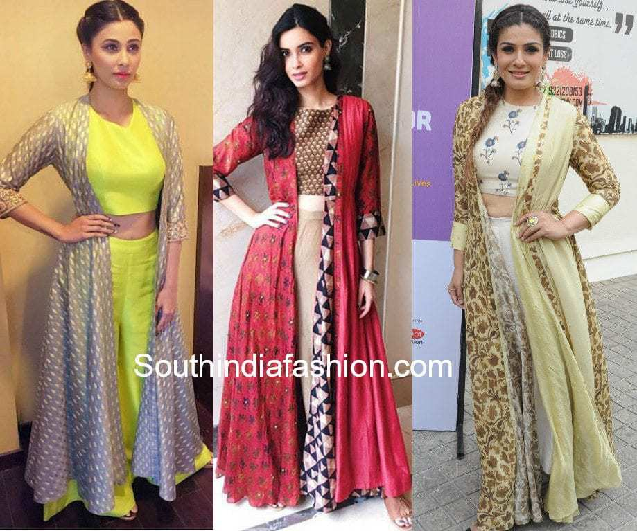 indian long jacktes with palazzo crop tops