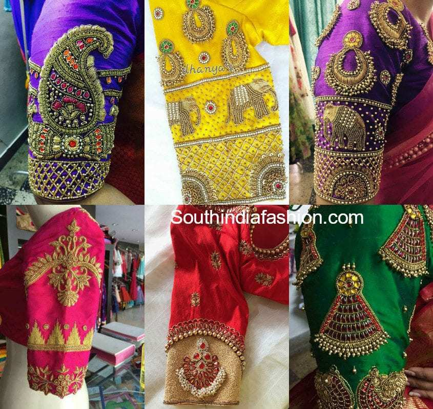 Embellished Blouse Sleeve Designs For Silk Sarees South India Fashion