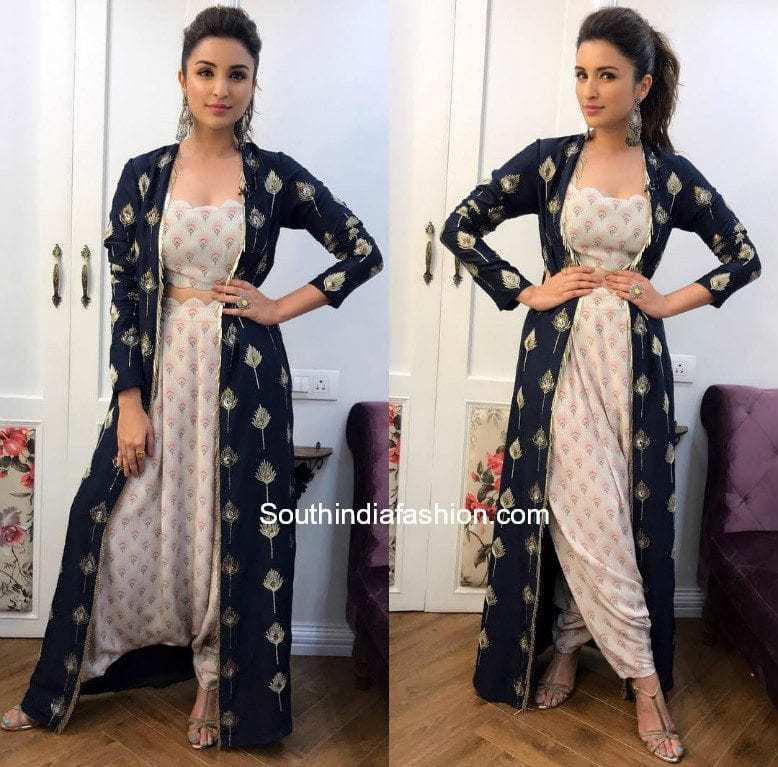 parineeti chopra dhoti pants crop top with long jacket