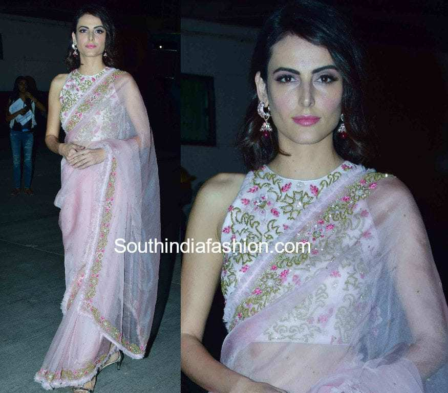 mandana karimi in althea krishna baby pink saree at joya fashion show