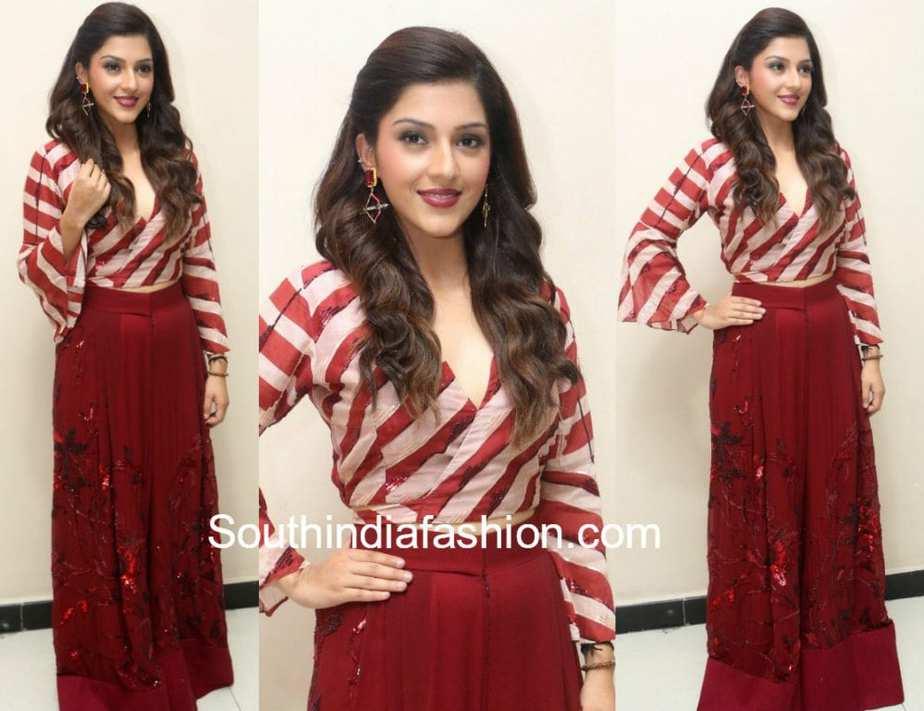 mehreen pirzadaa dress at mahanubhavudu trailer launch