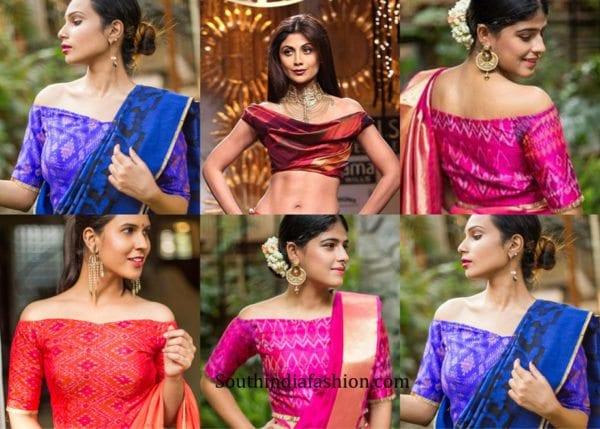off-shoulder-blouse-designs-for-pattu-sarees