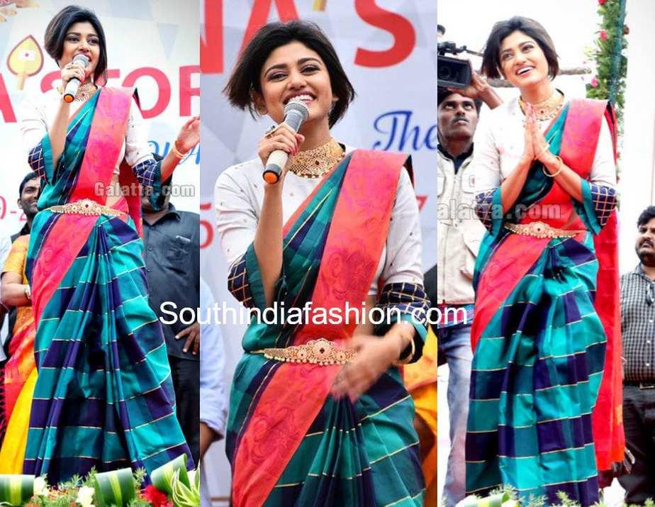 oviya in blue pattu saree at saravan stores crown mall launch