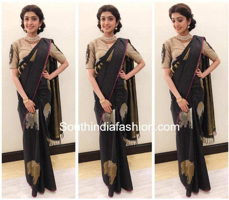 pranitha subhash black kanjeevaram saree mysore fashion week 2017