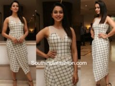 Rakul Preet singh spyder promotions black and white checkered dress
