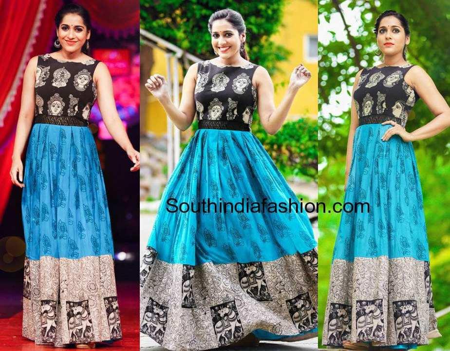 rashmi gautam in kalamkari long gown jabardasth show