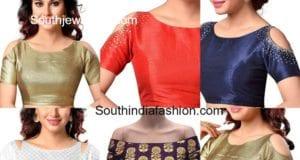 readymade cold shoulder saree blouse designs