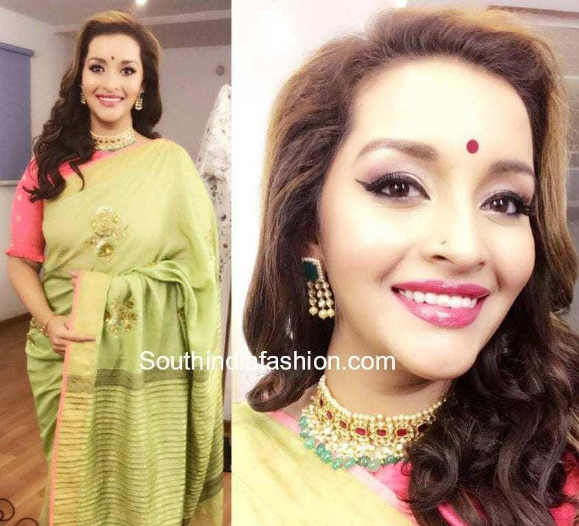 renu desai green saree anitha reddy tv9 interview