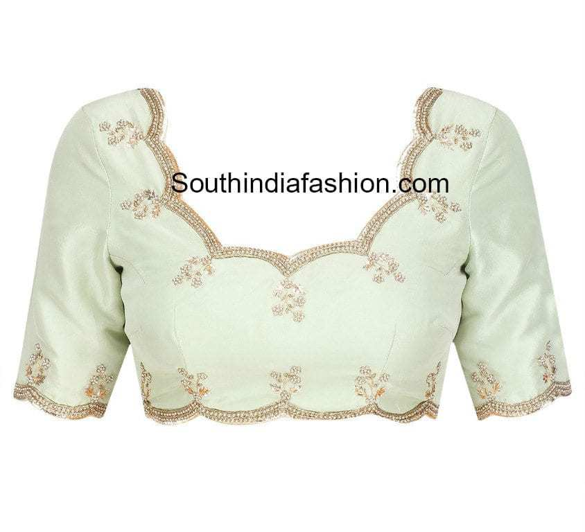 scalloped border blouse
