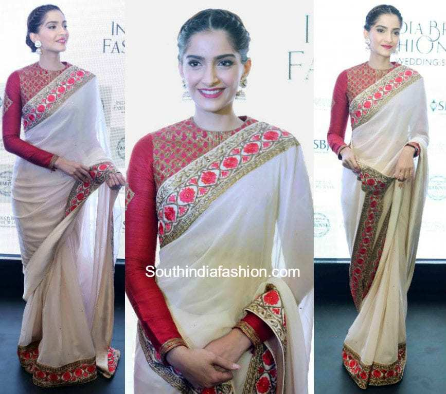 sonam kapoor white saree red blouse