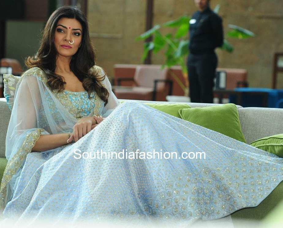 Sushmita Sen in blue lehenga at Sashi vangapally Store Launch