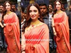 tamannaah bhatia peach saree brindavan silks showroom launch