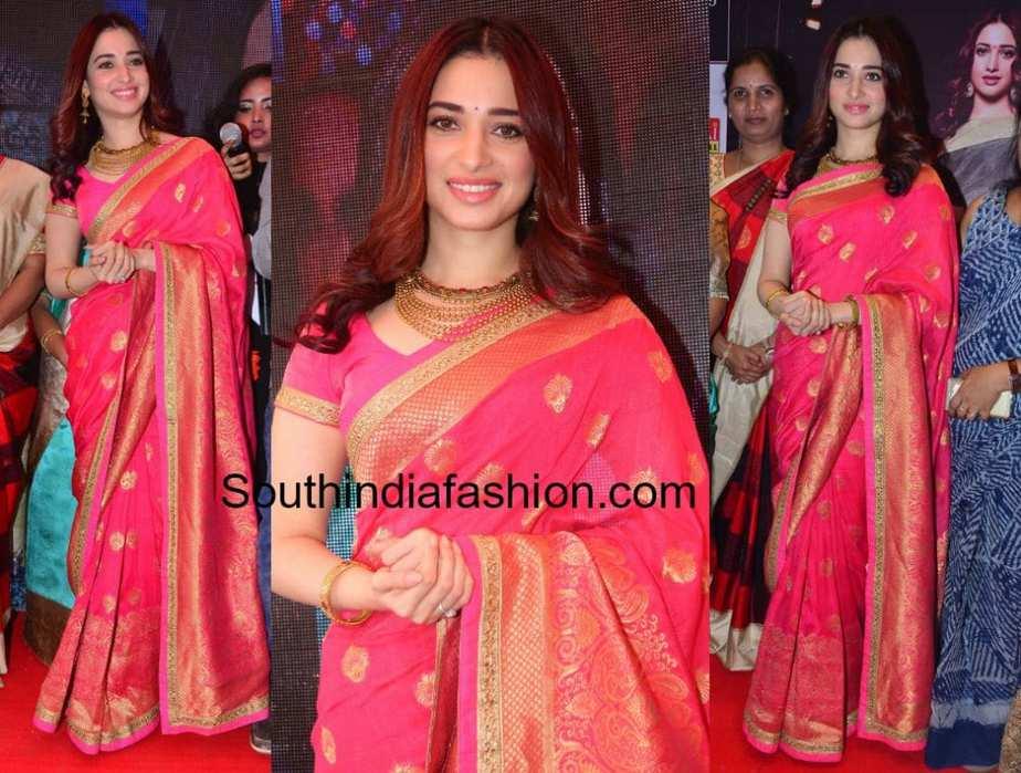 tamannaah bhatia pink saree joh rivaaz collection launch rs brothers