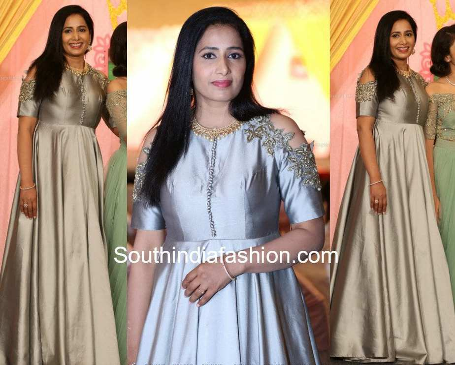 vidya rao long gown at her daughter first birthday