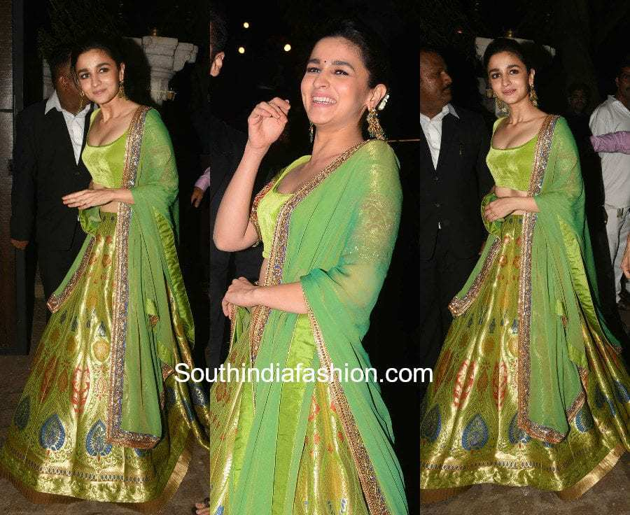 Alia Bhatt in Manish Malhotra at Anil Kapoor's Diwali Party