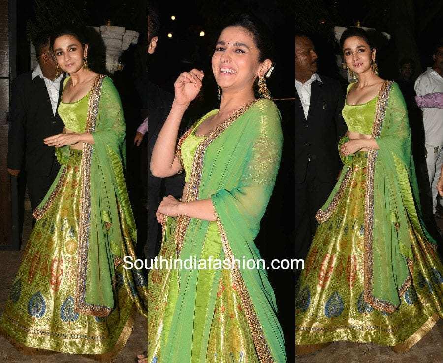 Alia Bhatt in Manish Malhotra at Anil Kapoor's Diwali Party