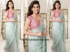 Anisha Ambrose in a saree by Geethika Kanumilli at an event