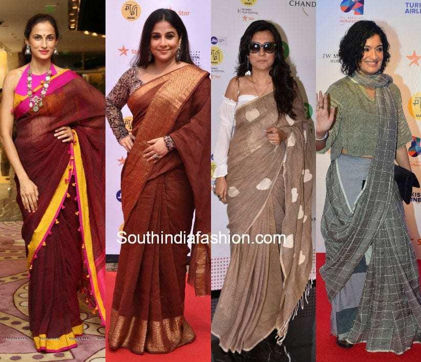 celebrities in linen sarees
