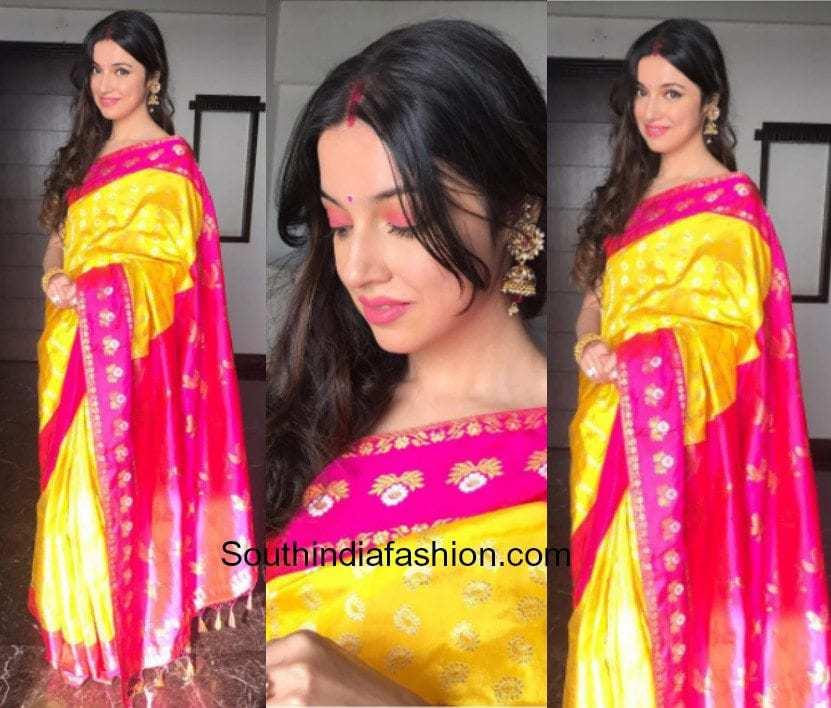Divya Khosla Kumar in Sanjukta Dutta saree for Karvachauth