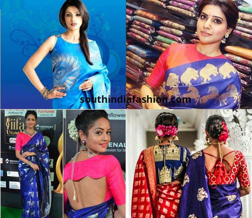 blue pattu saree blouse combinations