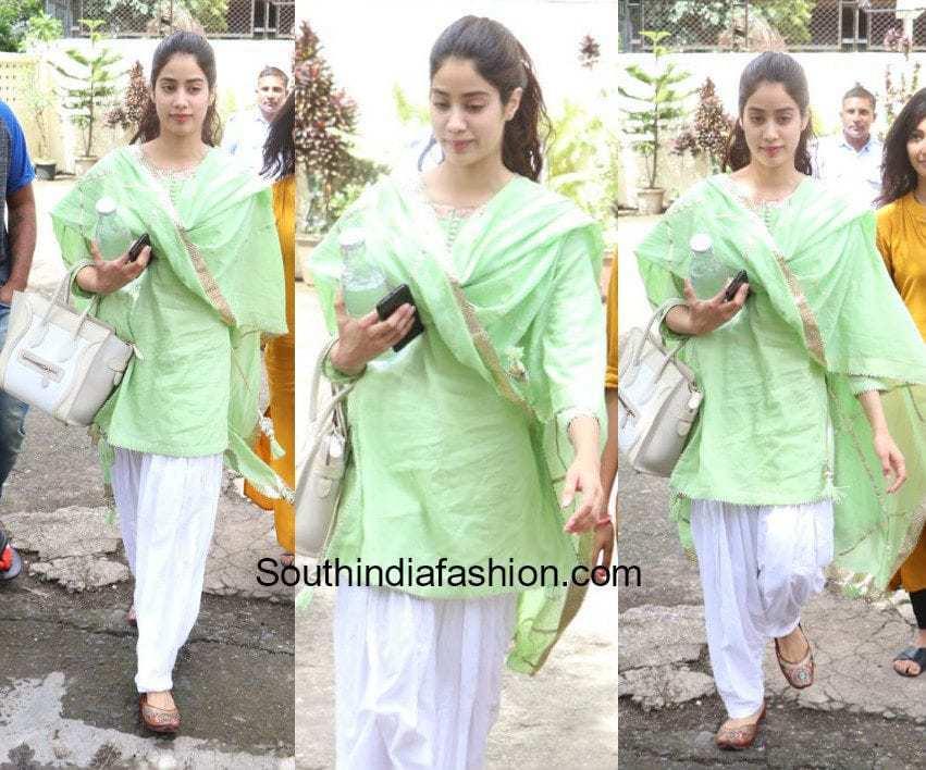 Jhanvi Kapoor in a salwar suit after dance practice