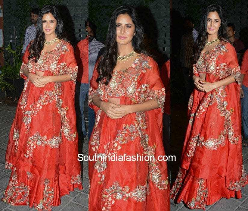 Katrina Kaif in Anamika Khanna at Arpita Khan's diwali bash