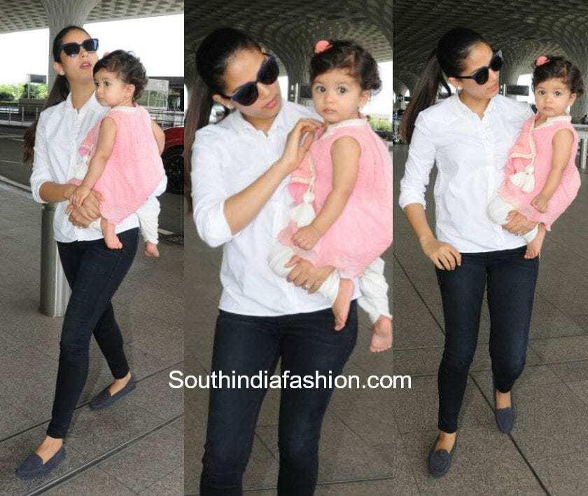 Mira Kapoor and daughter Misha at the airport