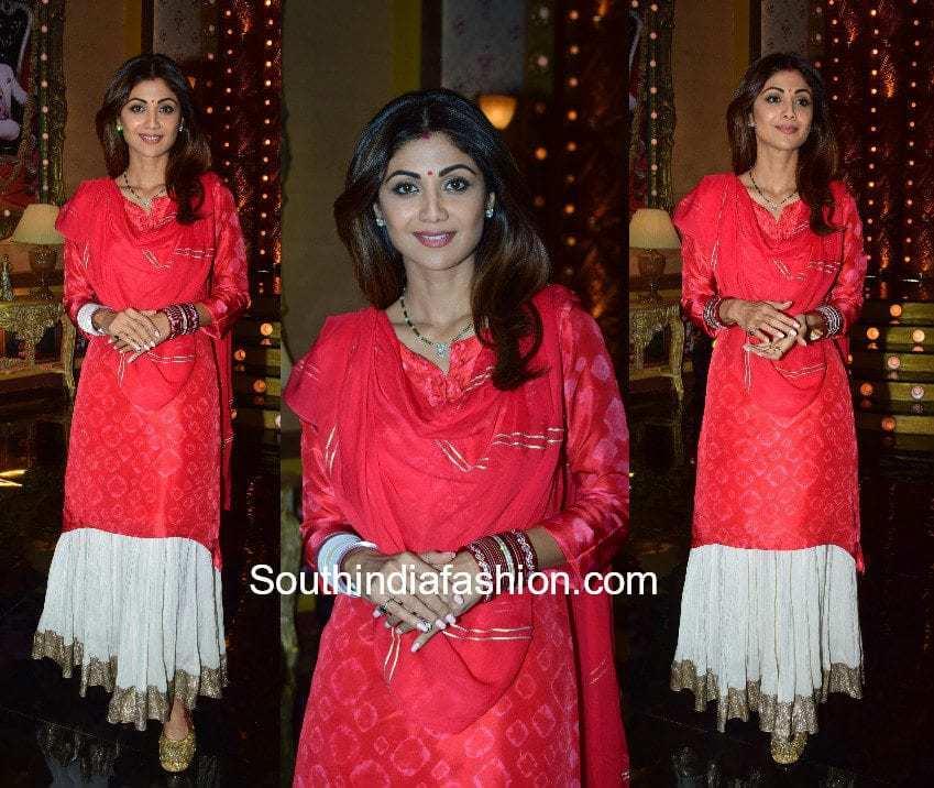 Shilpa Shetty's ethnic look on the sets of aunty boli lagao boli