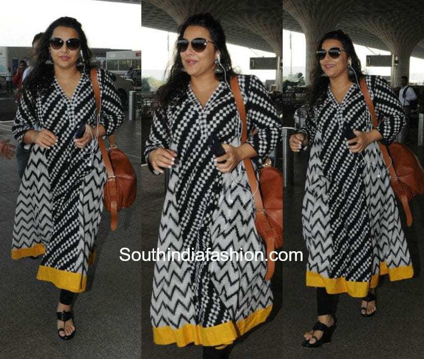 Vidya Balan in a kurta at the airport