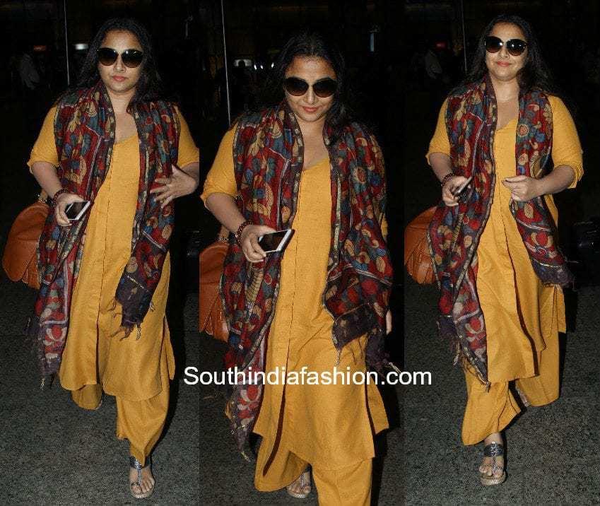 Vidya Balan in a salwar suit at the airport