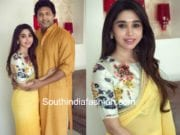aarti ravi yellow saree floral printed blouse arpita mehta diwali 2017