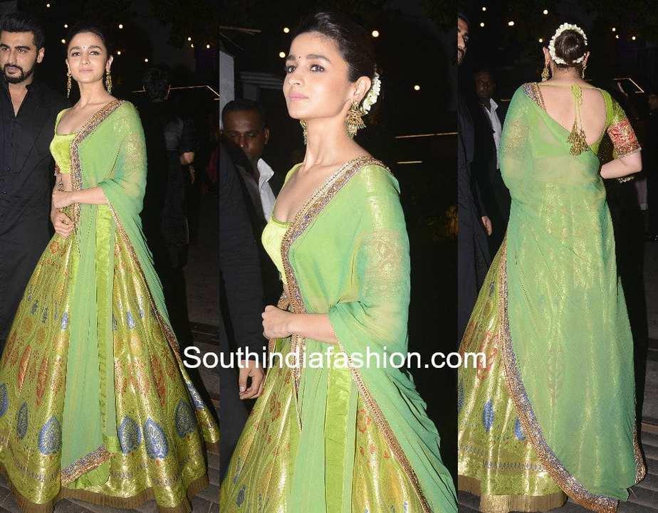 alia bhatt in green lehenga by Manish Malhotra at Anil Kapoor diwali party 2017