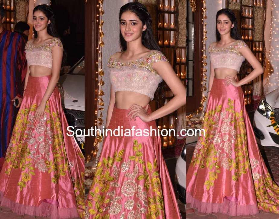 ananya panday long skirt crop top at shilpa shetty diwali party