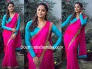 anchor anasuya pink saree blue blouse drama juniors