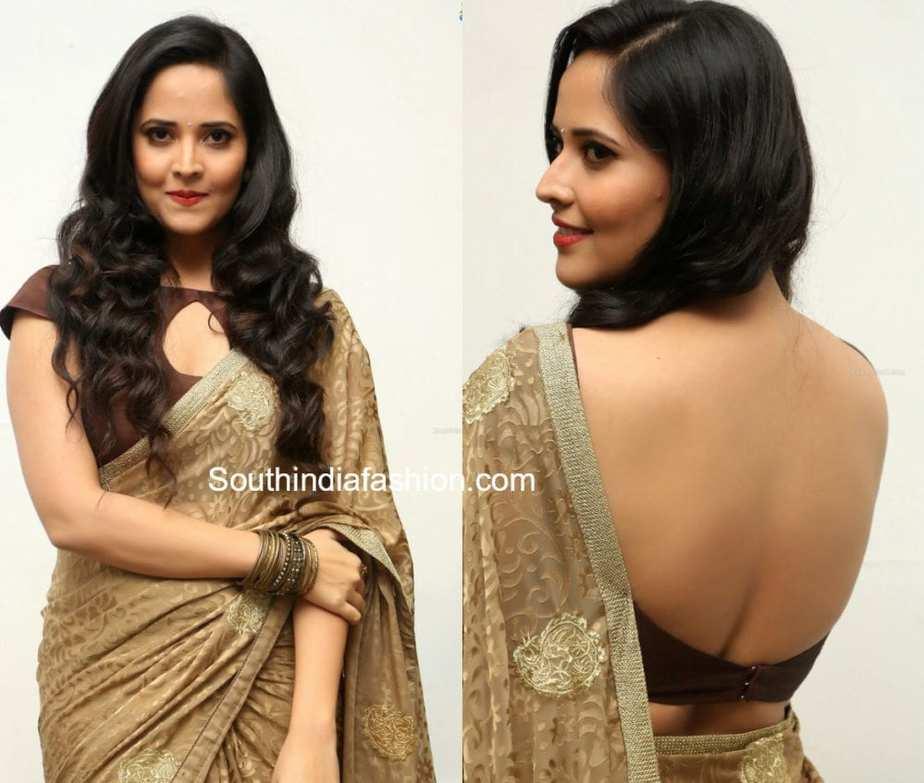anchor anasuya saree blouse designs