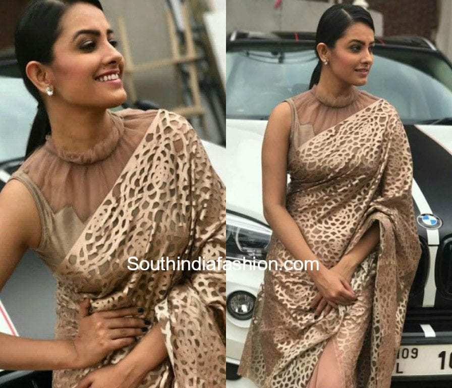 anita hassanandini high neck net blouse