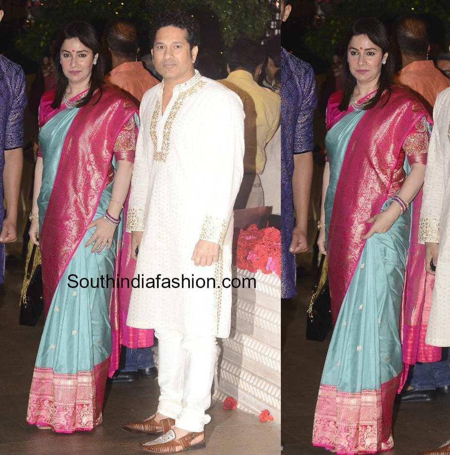 anjali tendulkar festive look saree