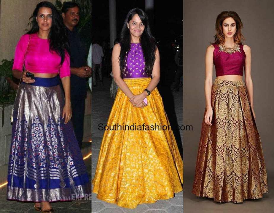 banarasi skirts with crop tops