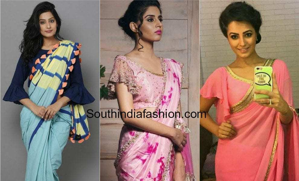 Bell Sleeves And Ruffle Sleeves Blouse Designs For Sarees