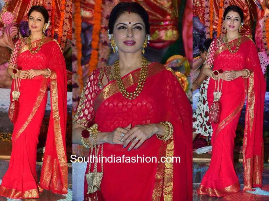 bhagya shree red saree vijayadashami