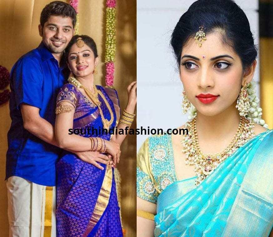 Blue pattu saree with blue blouse