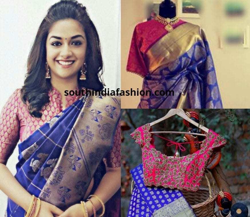 Blue pattu saree with a pink blouse