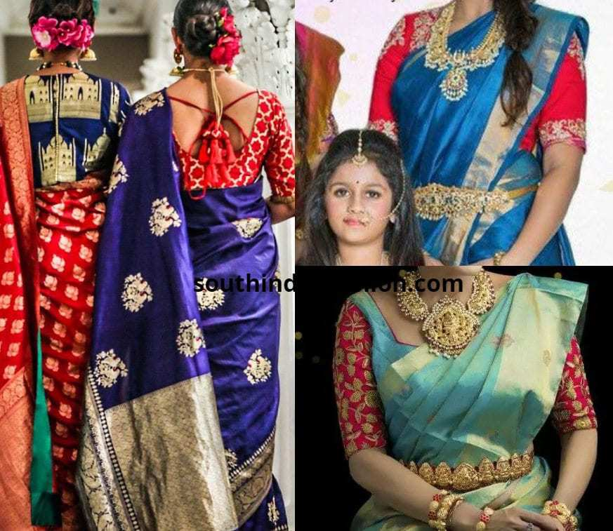 Blue pattu saree with a red blouse