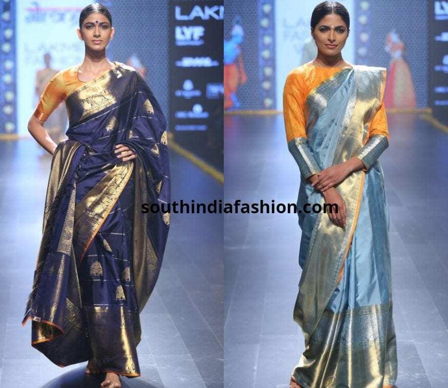 Blue pattu saree with a yellow blouse